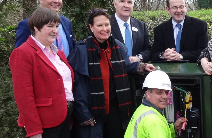 Anne Marie and others at a new superfast broadband cabinet